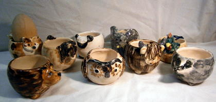 Pottery Animal Egg Cups
