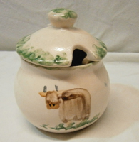 Highland Cow Pottery - sugar bowl or marmalade pot