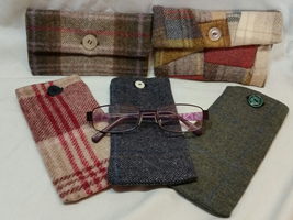 Tweed purses and glass cases