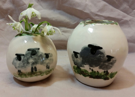 Blackface sheep pottery - vases