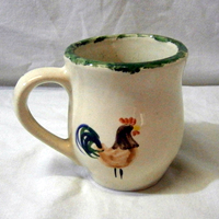 cockerel mug pottery