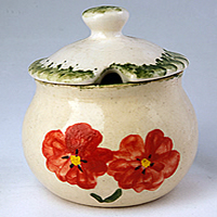 Poppy pottery - marmalade jar or sugar bowl
